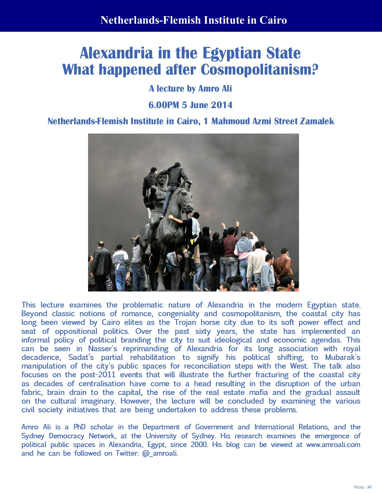 (Lecture) Alexandria in the Egyptian State: What happened after cosmopolitanism?