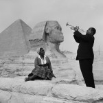 Louis Armstrong playing for his wife at the Pyramids of Giza
