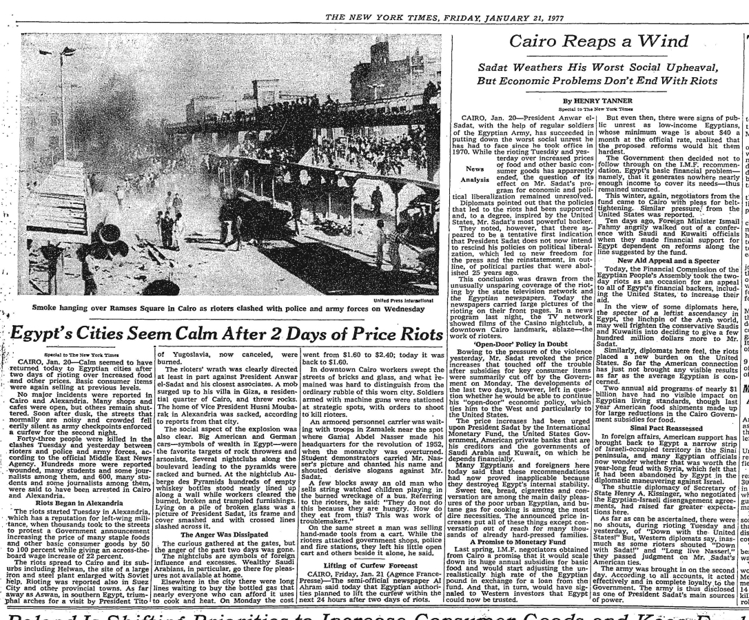 Image result for 1977 egyptian bread riots
